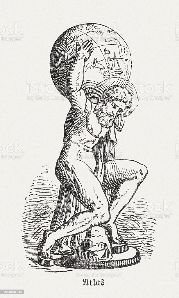 Atlas Figure Of The Greek Mythology Wood Engraving