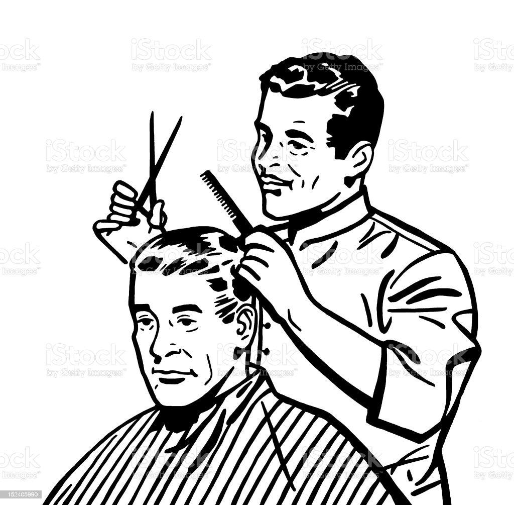 barber giving haircut stock vector