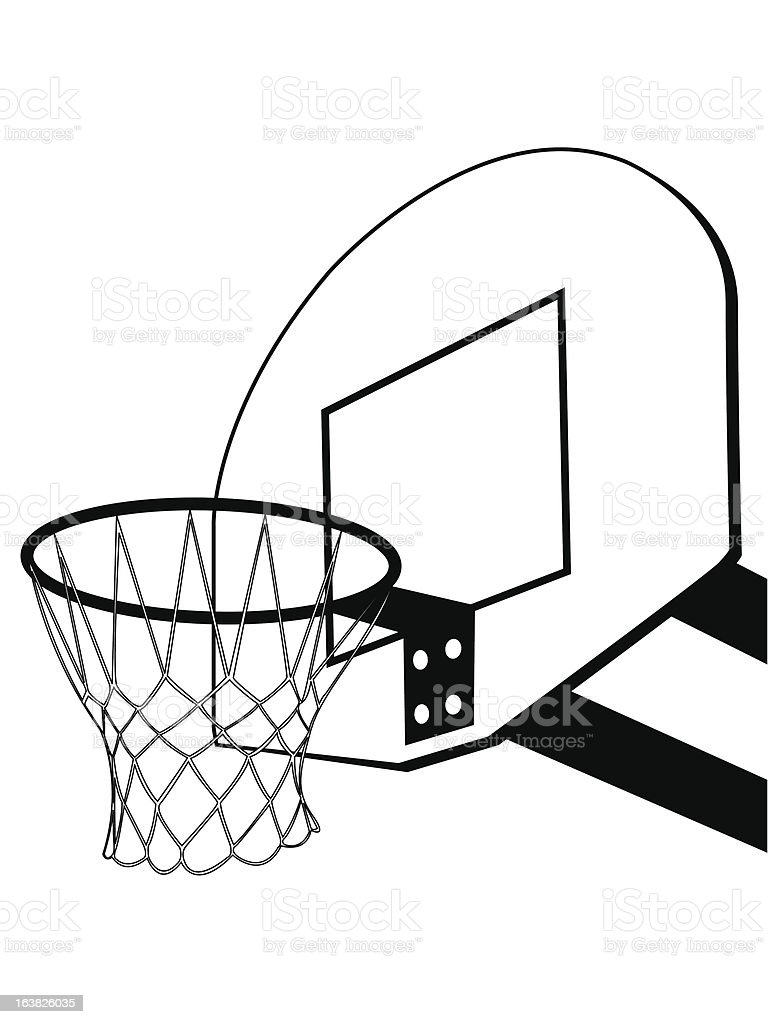 Basketball Hoop Drawing : basketball, drawing, Basketball, Backboard, Silhouette, Stock, Illustration, Download, Image, IStock