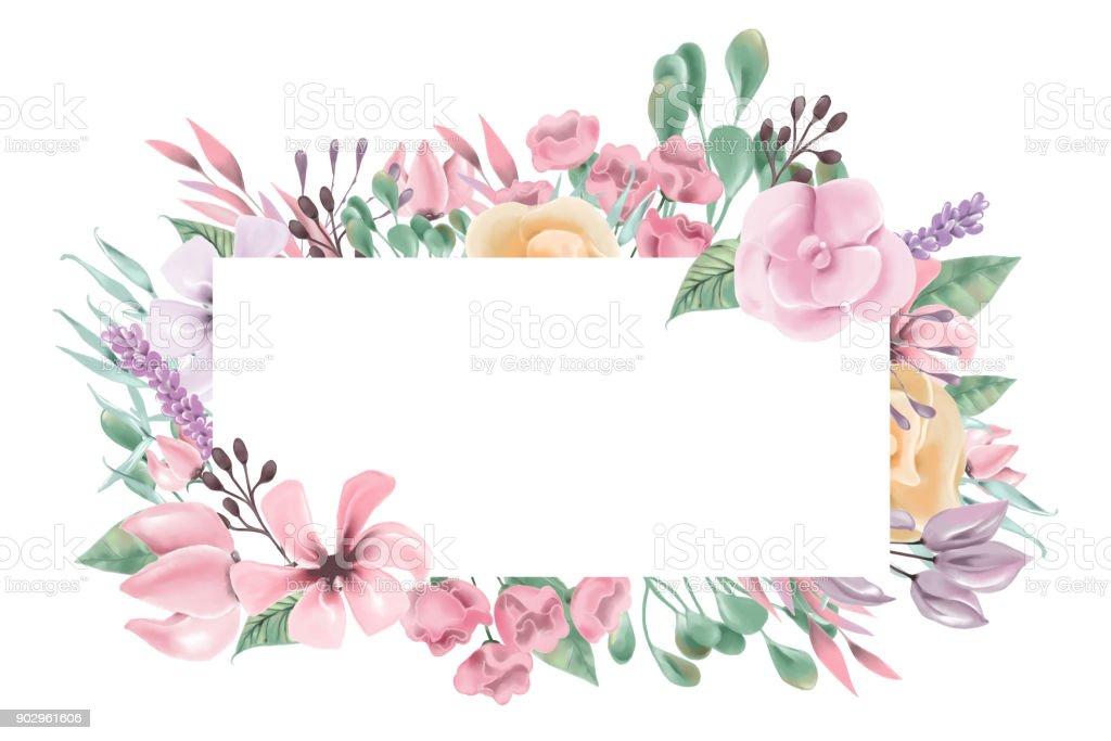 Ilustracin de Acuarela Flores Guirnalda De Flores Marco