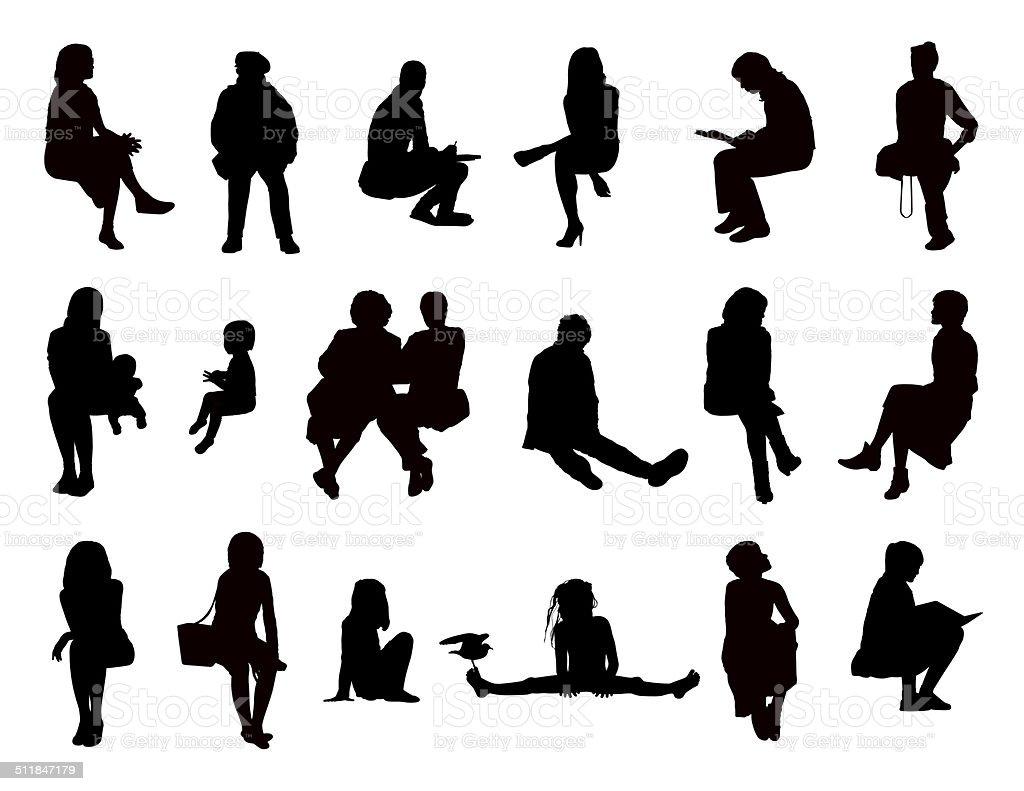 Big Set Of Women Seated Silhouettes Stock Illustration