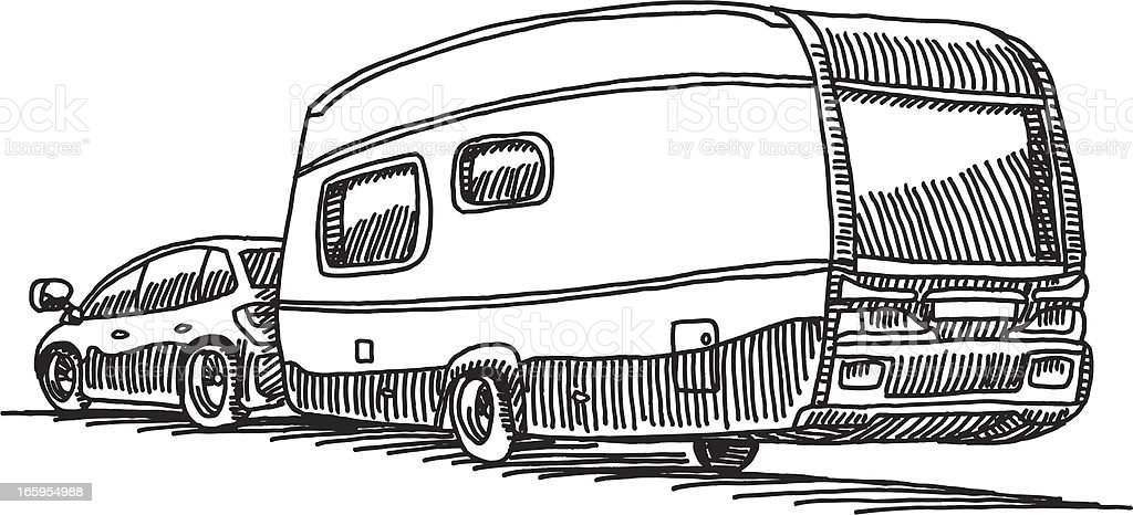 Car Caravan Camping Trailer Stock Vector Art Amp More Images
