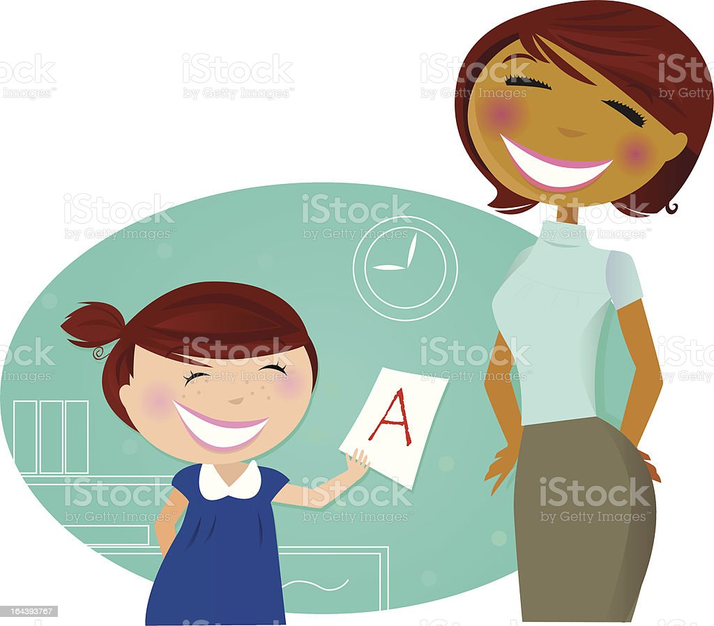 hight resolution of cartoon girl showing mom good grade on school work royalty free cartoon girl showing mom