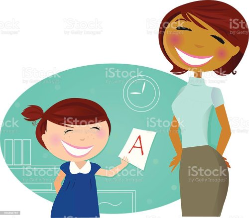 small resolution of cartoon girl showing mom good grade on school work royalty free cartoon girl showing mom