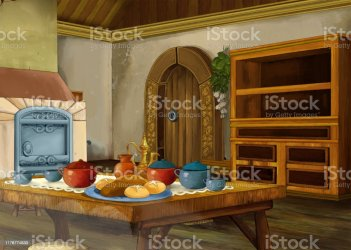 Cartoon Scene With Medieval Kitchen Room Interior For Different Usage Stock Illustration Download Image Now iStock