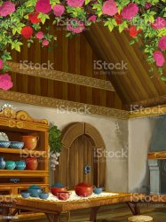 Cartoon Scene With Medieval Kitchen Room With Roses Interior For Different Usage Stock Illustration Download Image Now iStock