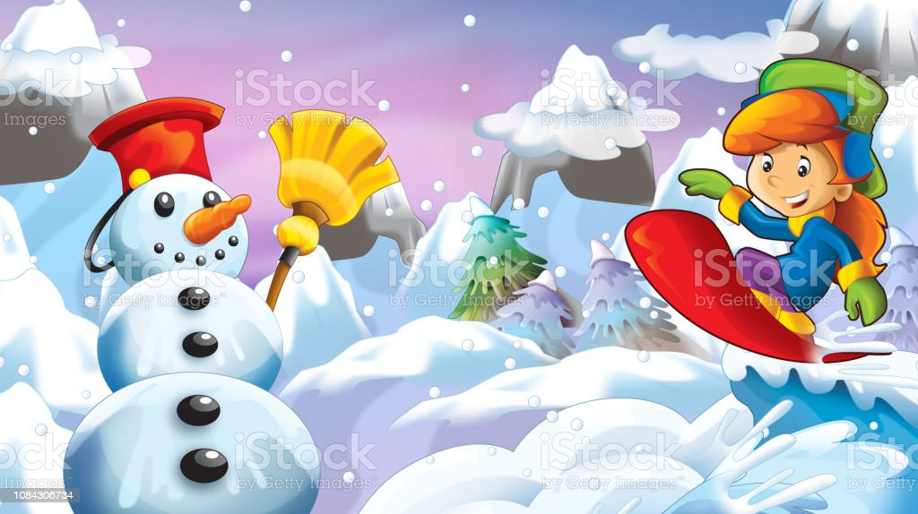 Cartoon Winter Nature Scene With Happy Snowman And Girl Kid On Snowboard Stock Illustration - Download Image Now - iStock