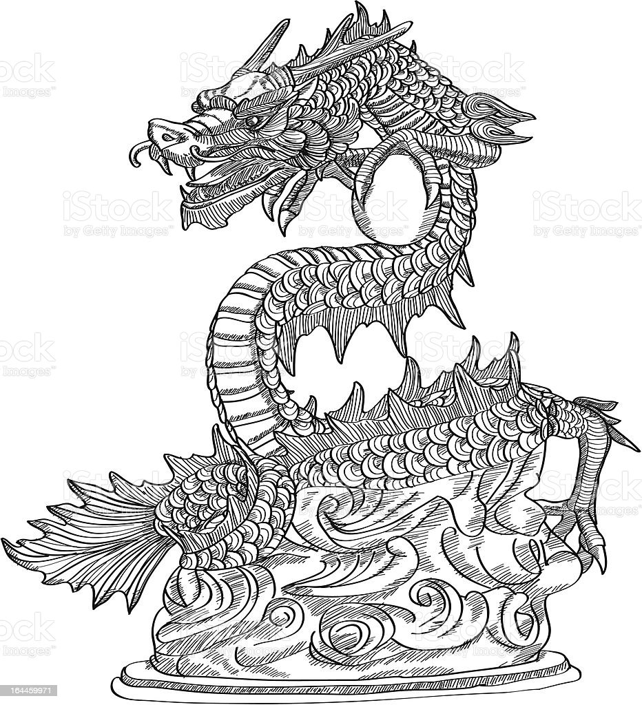 Chinese Style Dragon Statue Vector Line Sketch Up stock