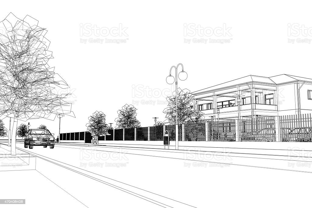 City Street Abstract Wireframe Stock Illustration