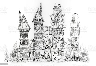 Collection Of Ink Drawing Houses For Concept Art Inspiration Magic Village Fairy Houses Fantasy Medieval Architecture Conceptual Art Stock Illustration Download Image Now iStock