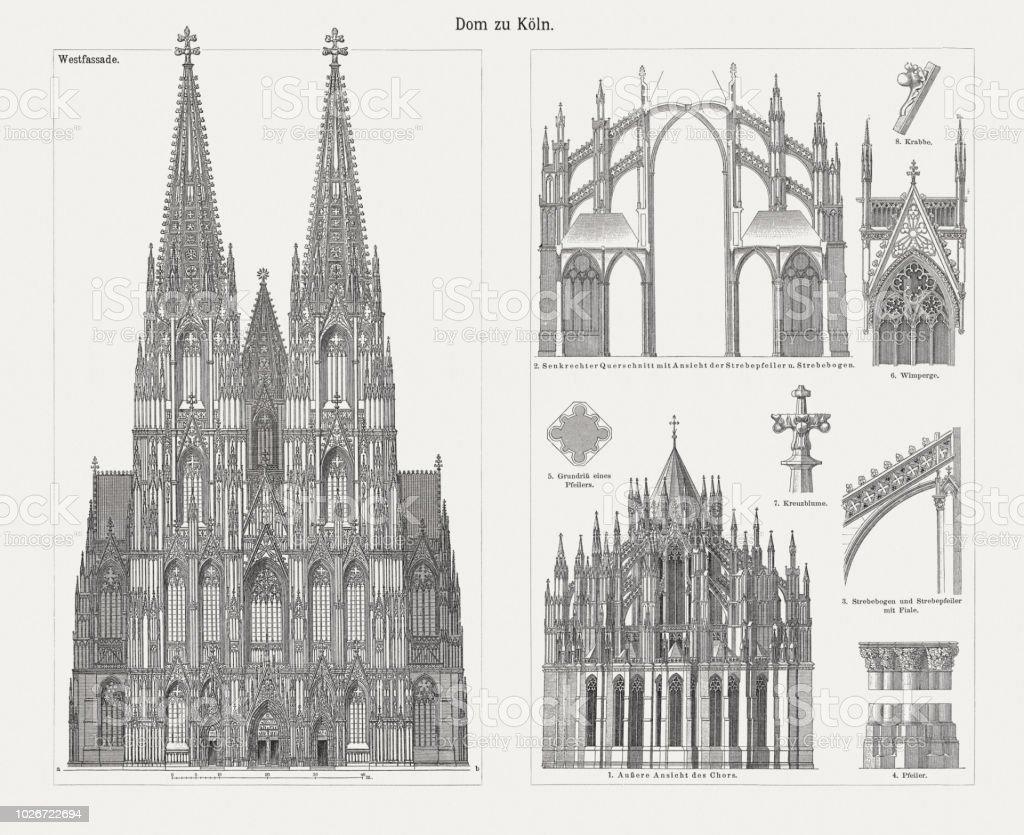 科隆大教堂 北部萊茵河西華里亞 德國 木版畫 出版于1897年 向量插圖及更多 北萊因-西法利亞邦 圖片 | iStock