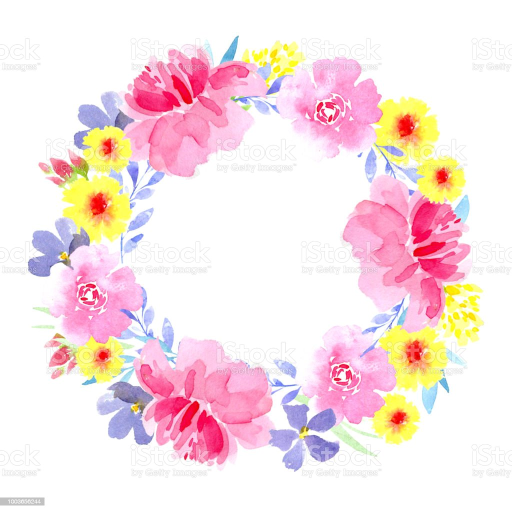 colorful floral wreath with