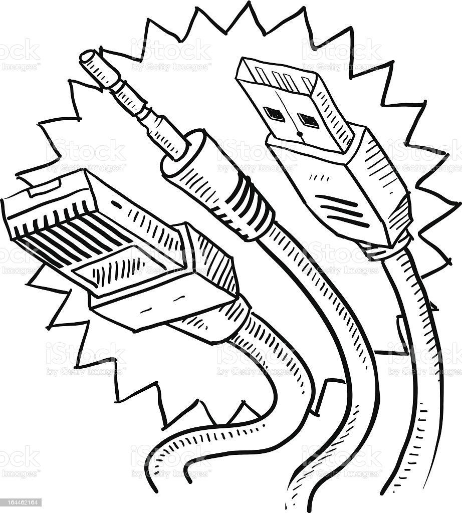 Ilustração de Desenho Em Computador Cabos De Usb E