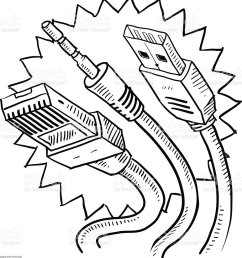 computer cables sketch usb auxiliary ethernet royalty free computer cables sketch usb [ 922 x 1024 Pixel ]