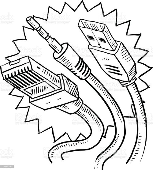 small resolution of computer cables sketch usb auxiliary ethernet royalty free computer cables sketch usb
