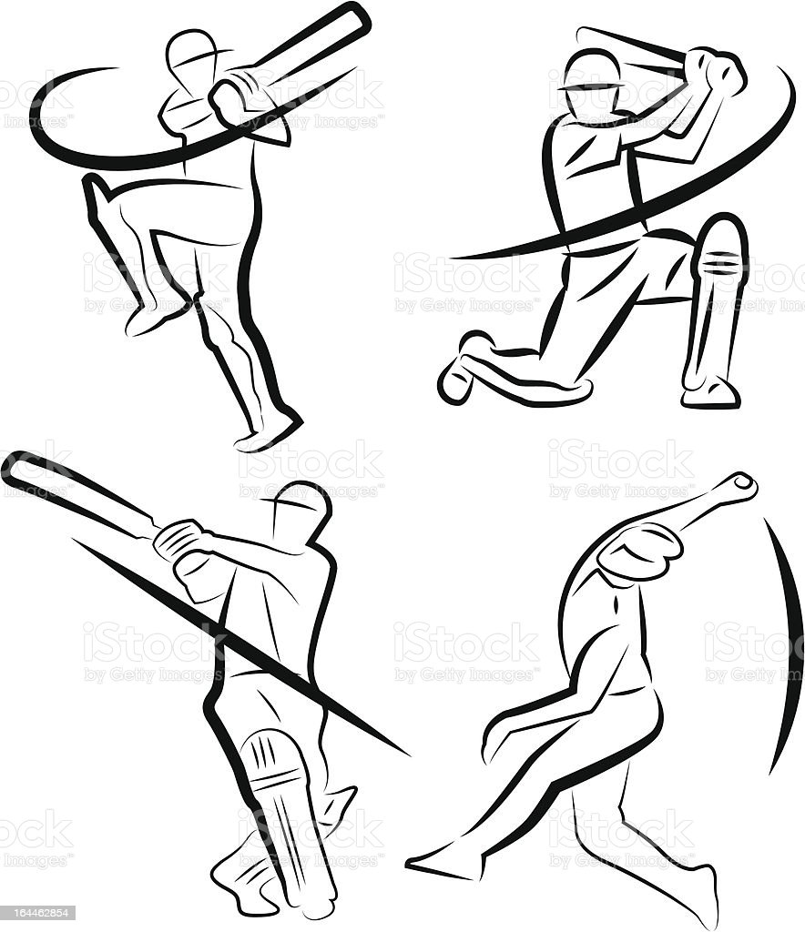 Cricket Player Outline Stock Vector Art & More Images of