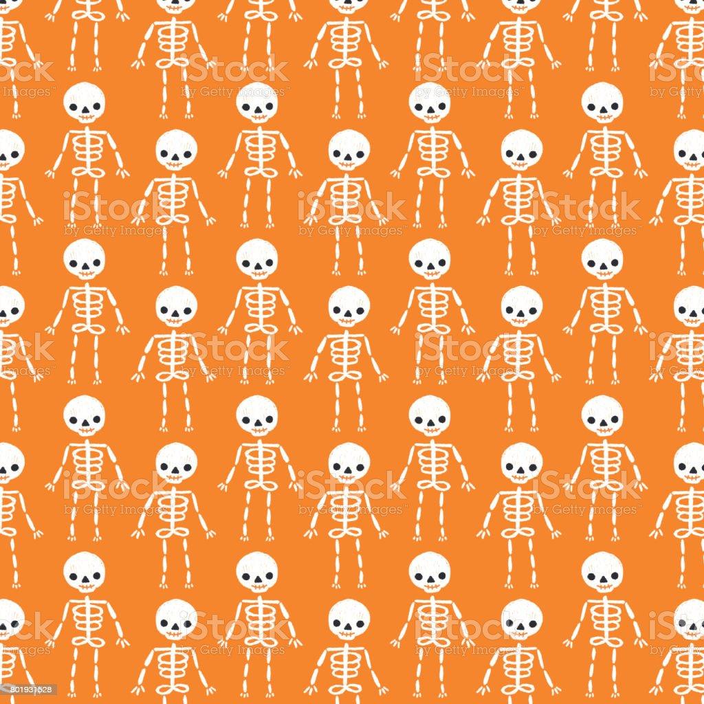 Skeleton Pattern Wallpaper Cute Cute Halloween Skeleton Background Pattern Stock Vector