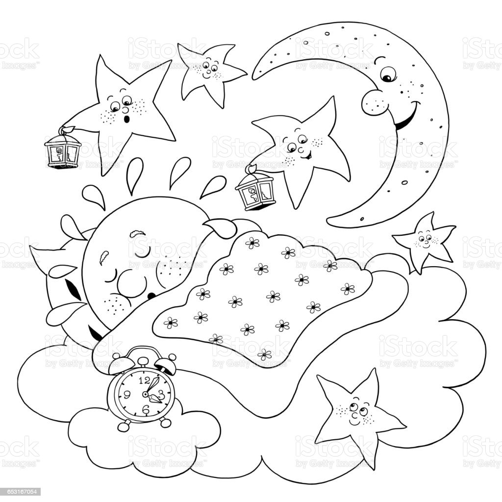 Cute Sun Sleeping In The Sky Moon And Stars Singing