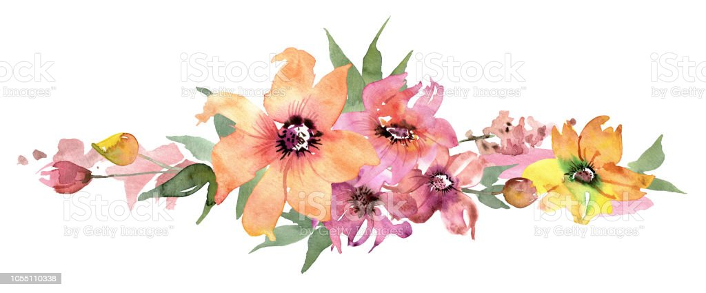 Cute Watercolor Flower Border Hand Painted Floral