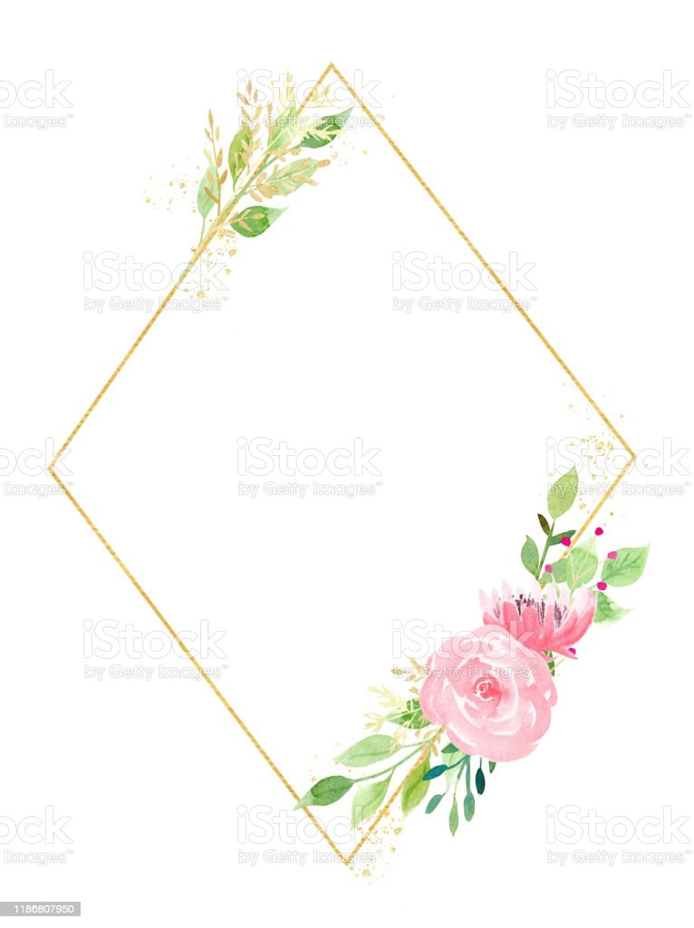 Diamond Shaped Picture Frame : diamond, shaped, picture, frame, Diamond, Shaped, Frame, Flowers, Leaves, Watercolor, Raster, Illustration, Stock, Download, Image, IStock