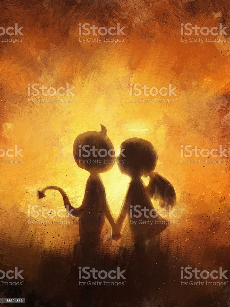 Angel And Devil Love : angel, devil, Digital, Painting, Devil, Angel, Kissing, Stock, Illustration, Download, Image, IStock