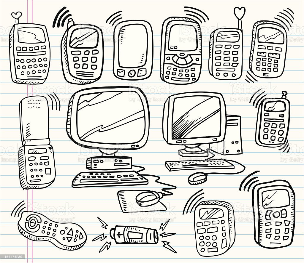Doodle Electronics And Technology Set stock vector art