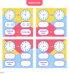 Elapsed Time And Telling Time Worksheet For Kids Understanding Analog And  Digital Clocks Educational Game Set Math Game Stock Illustration - Download  Image Now - iStock [ 1024 x 1024 Pixel ]
