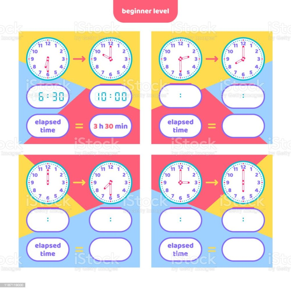 medium resolution of Elapsed Time And Telling Time Worksheet For Kids Understanding Analog And  Digital Clocks Educational Game Set Math Game Stock Illustration - Download  Image Now - iStock