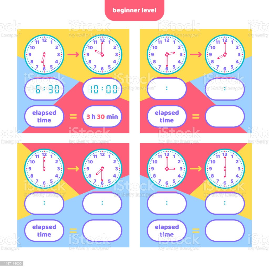 hight resolution of Elapsed Time And Telling Time Worksheet For Kids Understanding Analog And  Digital Clocks Educational Game Set Math Game Stock Illustration - Download  Image Now - iStock
