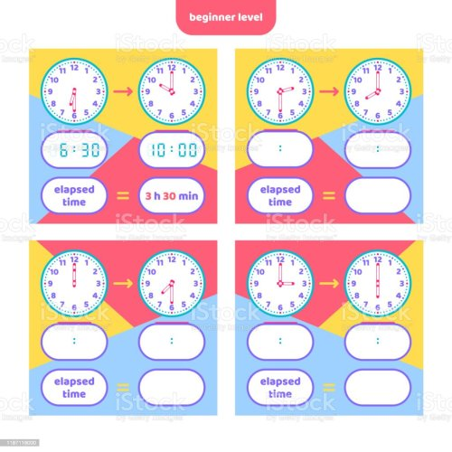 small resolution of Elapsed Time And Telling Time Worksheet For Kids Understanding Analog And  Digital Clocks Educational Game Set Math Game Stock Illustration - Download  Image Now - iStock
