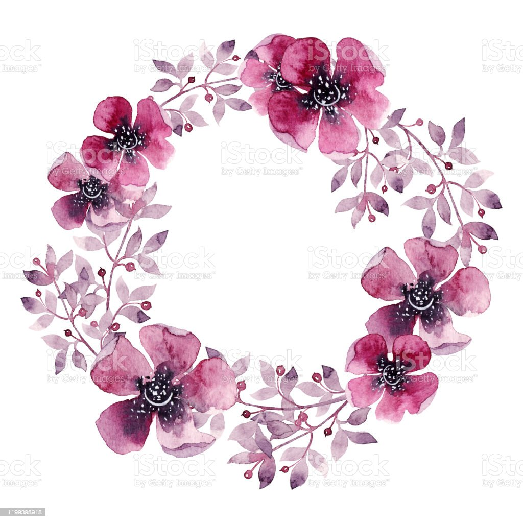 elegant wedding invitation greeting card with natural floral design round frame beautiful wreath hand painted watercolor illustration isolated on white background stock illustration download image now istock