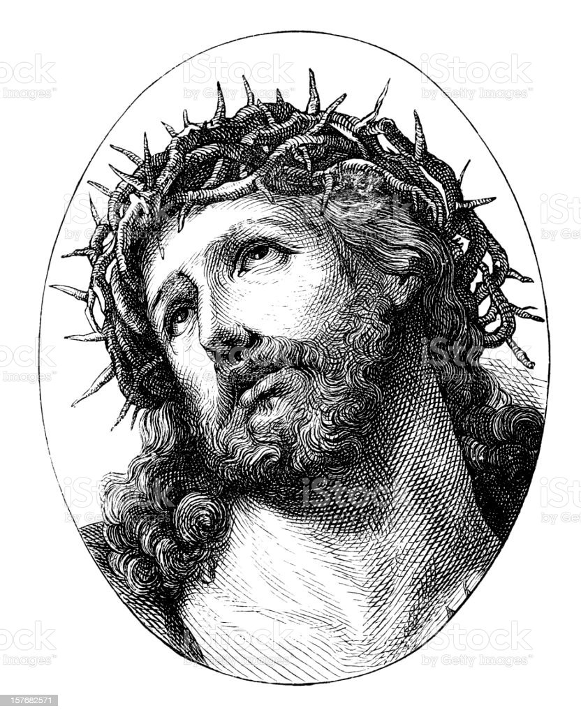 Crown Of Thorns Drawing : crown, thorns, drawing, Drawing, Jesus, Crown, Thorns, Illustrations, IStock