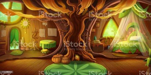 Fairy Tale Cottage Interior Fiction Children Backdrop Concept Art Stock Illustration Download Image Now iStock