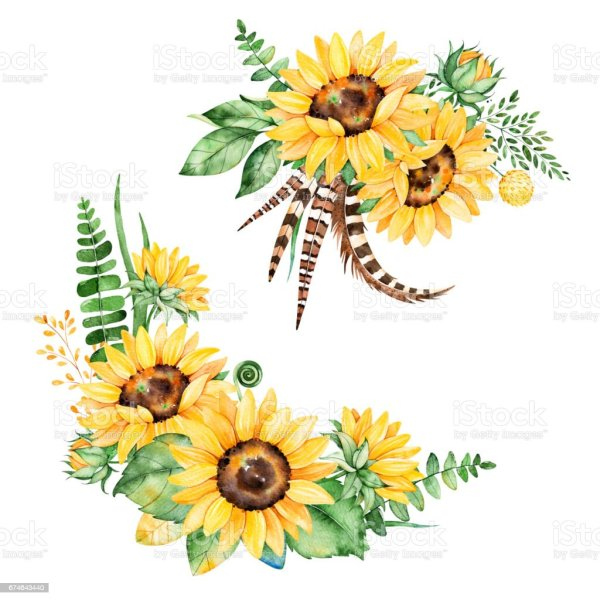 floral collection with sunflowers