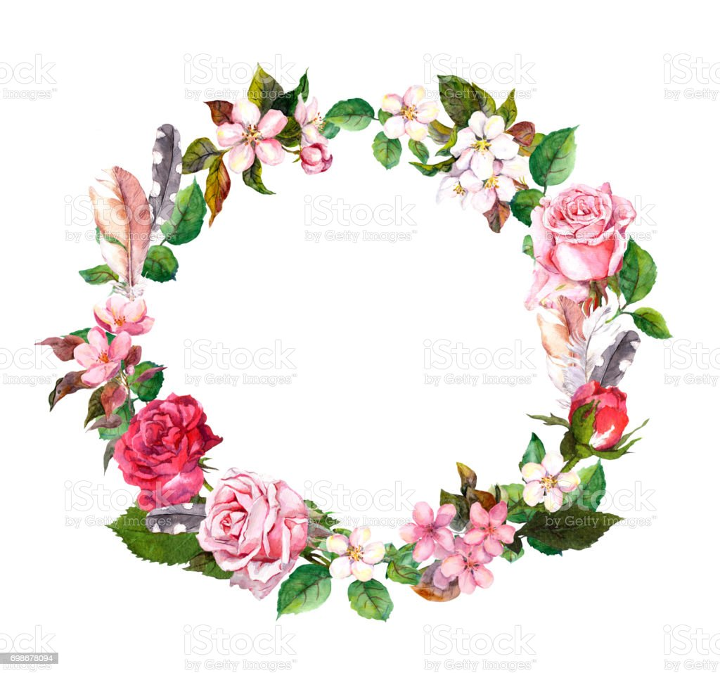 Floral Wreath With Apple Cherry Flowers Sakura Blossom