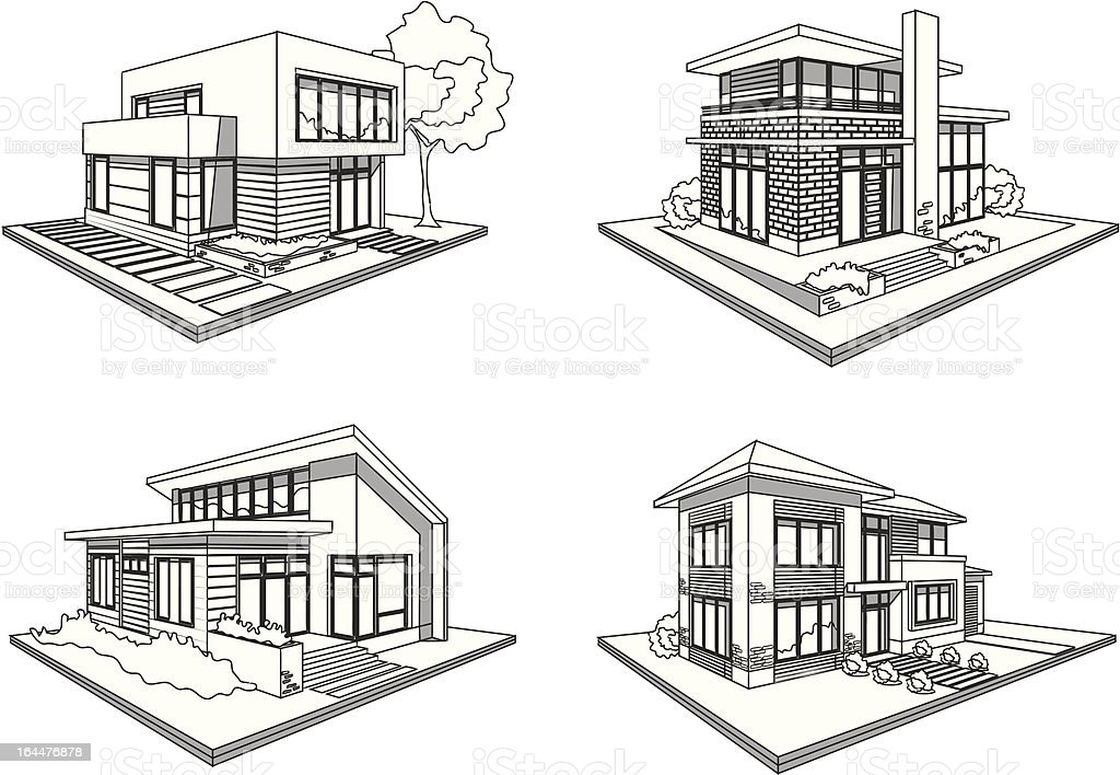 Four Houses Modern Mansions Sketch Icons Stock Vector Art