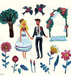 garden wedding clipart with bride groom two swallowes flowers leaves tree [ 1024 x 1024 Pixel ]