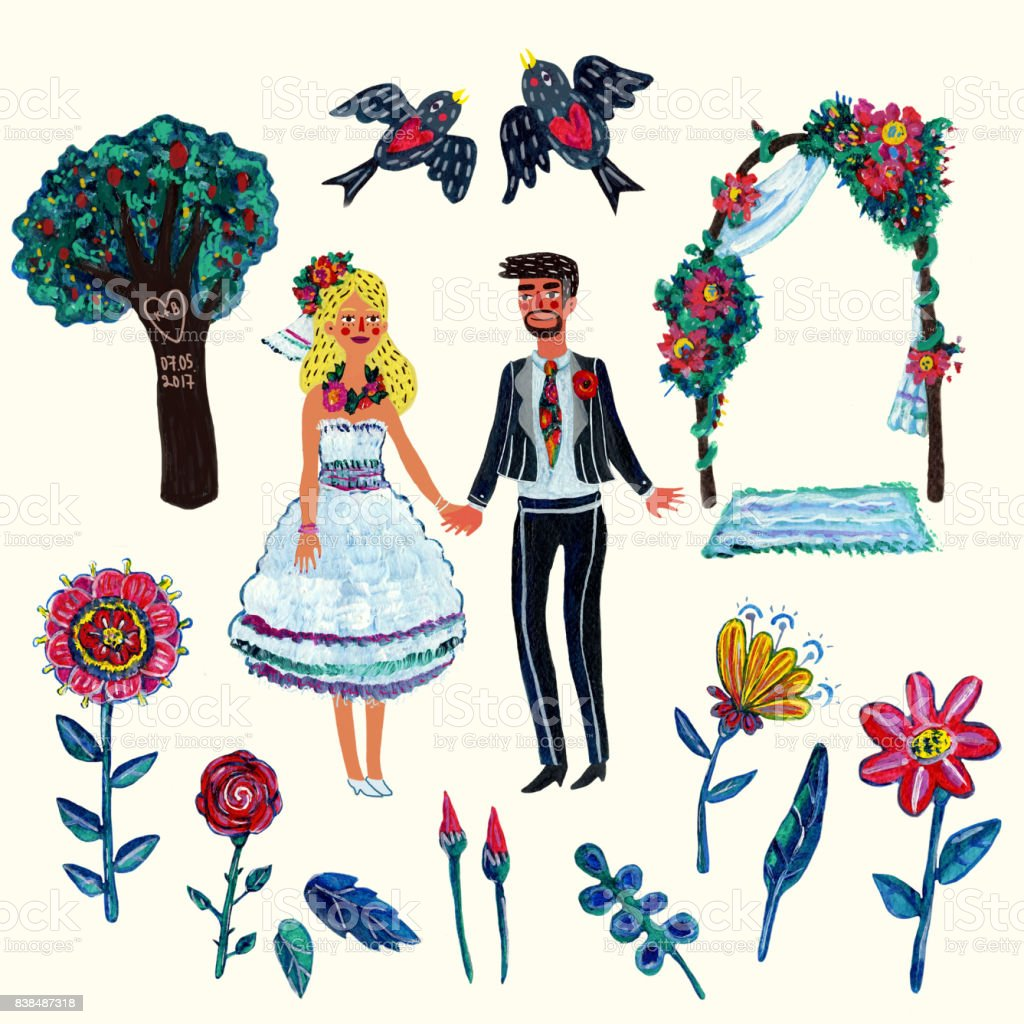 hight resolution of garden wedding clipart with bride groom two swallowes flowers leaves tree