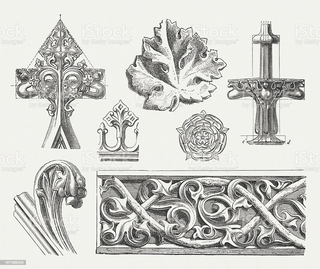 Gothic Ornaments Wood Engravings Published In 1876 stock