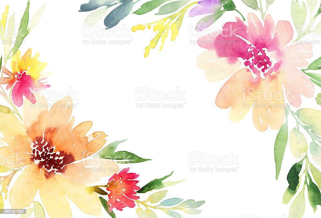 Orange Fall Peonies Wallpaper Greeting Card Watercolor Flowers Background Stock Vector