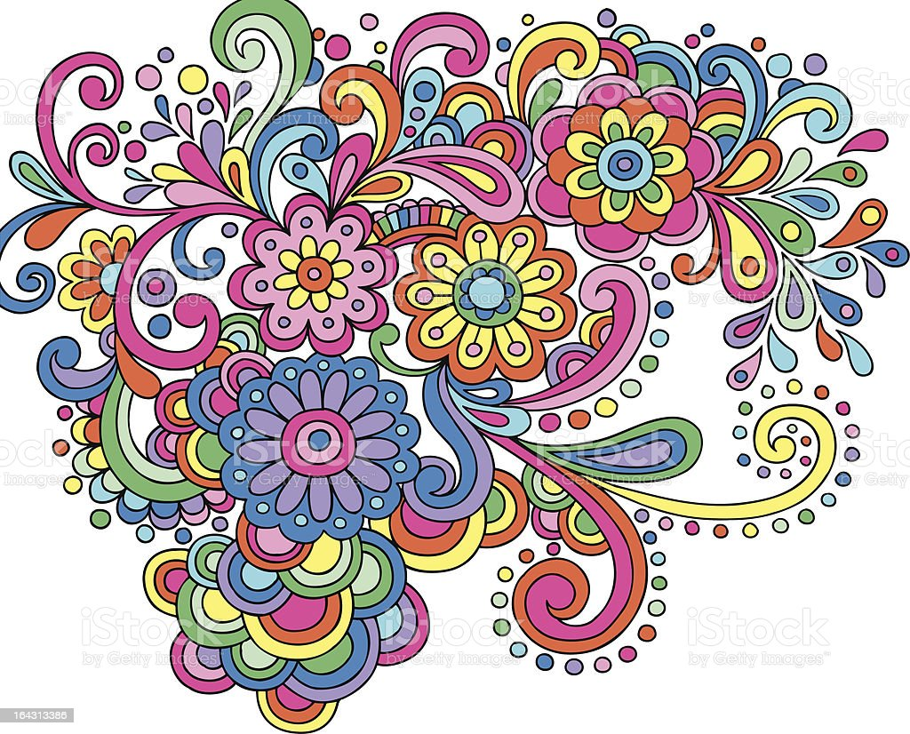 Groovy Psychedelic Abstract Paisley Doodle Stock Vector