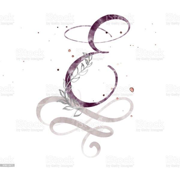 Hand Drawn Calligraphy Letter E Watercolor Script Font