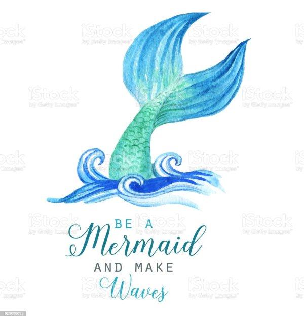 Handdrawn Watercolor Beautiful Mermaid Character