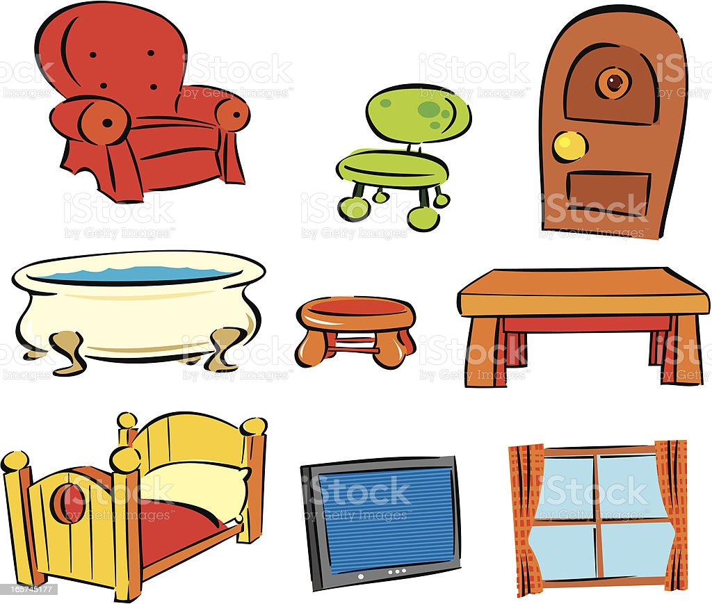 Household Items Stock Vector Art Amp More Images Of Armchair