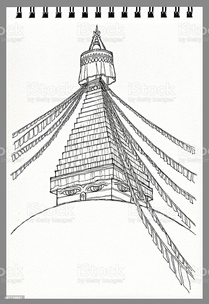 Illustration Freehand Drawing Of Boudhanath Buddhist