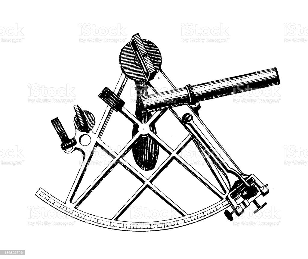 hight resolution of illustration of an ink drawn diagram of a sextant apparatus royalty free illustration of an