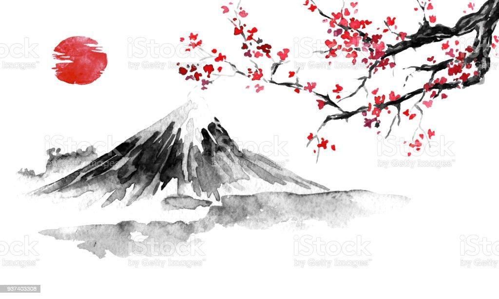 富士山 水墨畫 フリー - saruwakakun