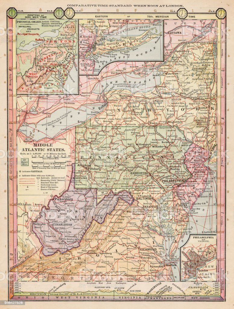 Map Of Middle Atlantic States : middle, atlantic, states, Middle, Atlantic, States, Stock, Illustration, Download, Image, IStock