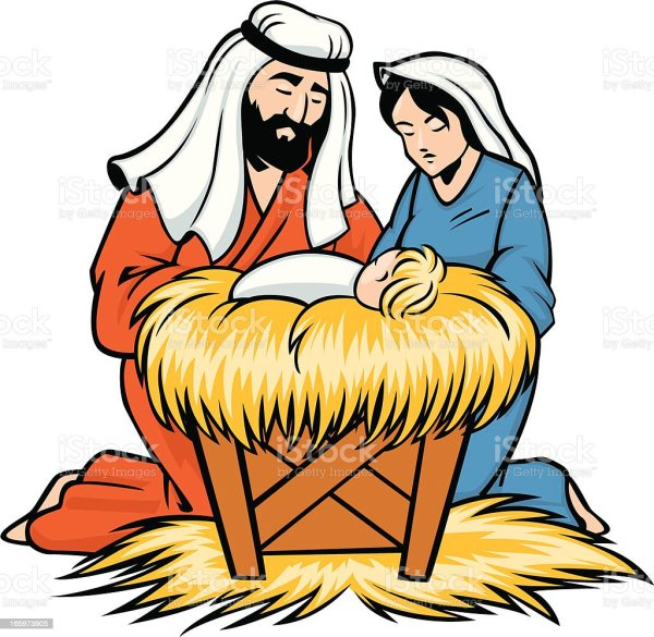 mary joseph and baby jesus stock