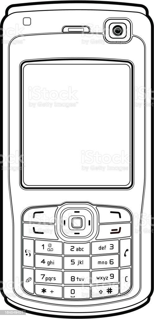 Mobile Phone Outline Stock Vector Art & More Images of
